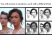 retouch and convert 2 portraits to black and white