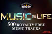 provide 500 Royalty Free Music Tracks Resell Rights Songs
