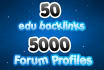 run a 2 layer Seo Campaing of 50 edu links and 5000 forums Profiles