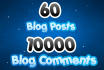 2 Tier Seo Backlinks Pyramid of 60 Blog Post and 10000 Blog Comments Buy Now