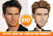 draw cool cartoon caricature portrait for you