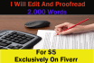 edit and Proofread Your Document Up To 2,000 Words