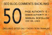 make 50 High Domain authority and Page authority Backlinks