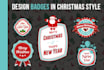 design Professional BADGES in Christmas Style