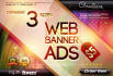 3 different sizes web banner ads of 1 design