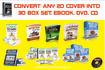 convert any 2D Cover into 3D box set, ebook, dvd, cd