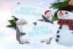 make cute penguins wishing Christmas New Year video
