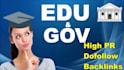 create 29 High pr backlinks includeEDU and Gov