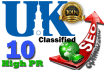 promote your website and get UK Classified links