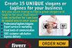 brainstorm Unique slogans or TAGLINES for your Business