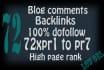 110 high PR blog comment backlinks with  PR1 to PR7