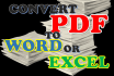 convert PDF to Word or Excel Today