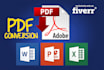 convert PDF to Word, Excel or Powerpoint 24HRS