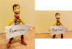 make Toy Story Woody hold your sign
