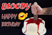 create a bloody birthday card of your name, fun and scary