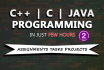 do your C, Cpp, Java assignment and project