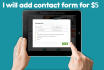 add contact form on your site