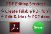 create Fillable PDF form in 5 hours