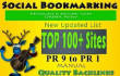 add your site 100 PR9 to PR1 Social Bookmarks Backlink