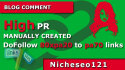 manually 80 blog comments on actual page rank pa 20 to 80