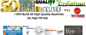build 50 High Quality Backlinks on High PR Niche