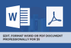 professionlly edit, format Word or PDF document