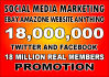 promote link amazon ebay website to 18M Facebook Twitter members