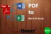 convert or edit PDF to Word or Excel