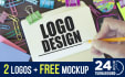 design 2 HQ logo in 24 hours with free mockup