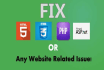 fix html php css javascript jquery issues