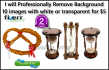 professionally RemoveBackground 10 images with white or transparent