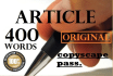 write An Article Of 400 Words
