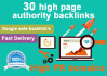create 30 high page authority and high PR backlinks for your website