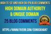 25 Unique Trust flow and citation flow backlinks high DA