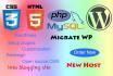setup wordpress on new host and custom theme