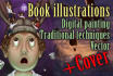 make CHILDREN book illustrations and cover