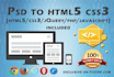 convert a PSD to responsive HTML5 website using Bootstrap