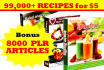 send else PLR Articles and EBooks on 100,000 Recipes  2016