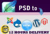 convert Psd to Wordpress 1 page in 12 Hrs
