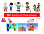 give you over 200 high quality cartoon characters