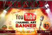 design a professional YOUTUBE channel art cover with free psd