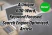 write a 600 Word Keyword Focused SEO Article