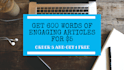 write a 600 Word Engaging CONTENT In 24 Hour