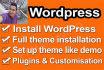install WordPress, Setup Theme and customize Theme