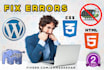 customize your Wordpress and solve css, html php errors