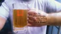 put your message on my hand and hold a beer with custom logo