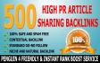create 500 High PR Article Backlinks to SkyRocket Your Rank