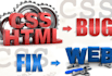 fix any html, css, bootstrap, javascript, jQuery bugs
