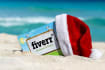 display your logo with christmas Santa Claus hat on tropical beach