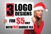 3 Unique logo designs with Free source files